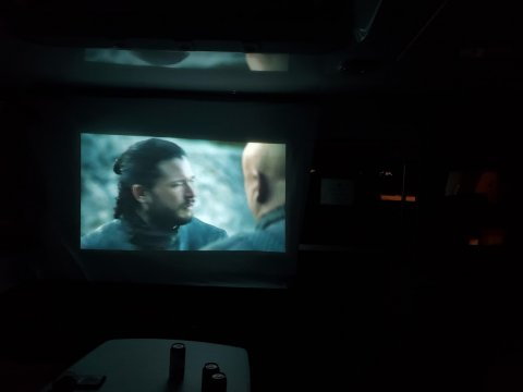 watching movie on boat